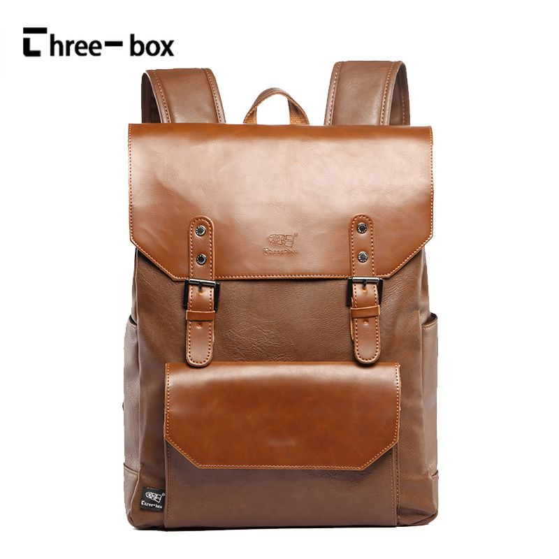 4faa7e8573a2 Three-box Brand Leather Men Backpacks Casual Daypacks Fashion Boy Vintage  Laptop Shoulder School Bag