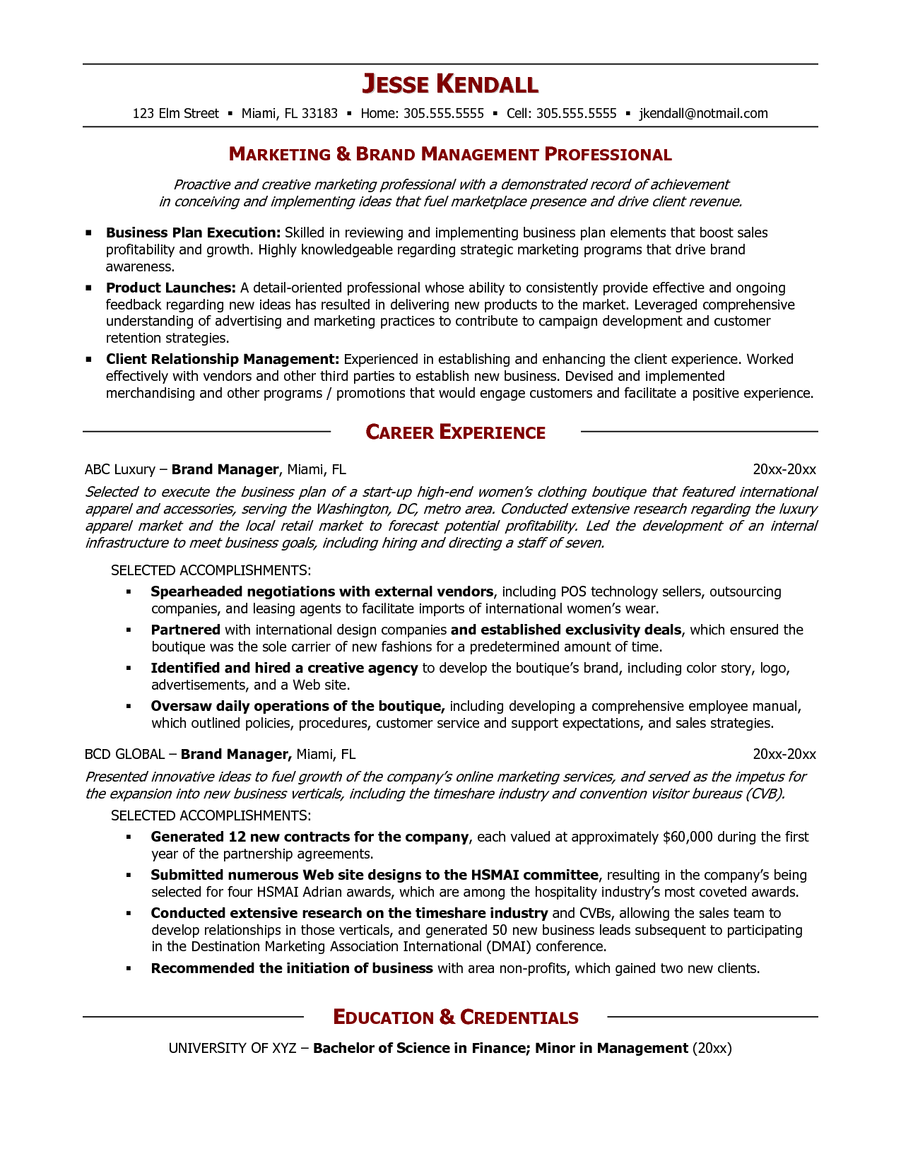 senior logistic management resume Brand Manager Resume
