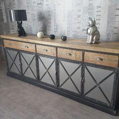 meuble industriel buffet 5 portes bois