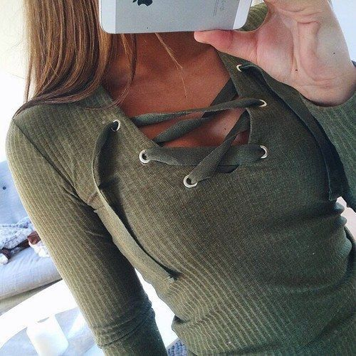 01dab07d6c Long sleeve lace up tops for fall   winter outfits ♡.  ariananicolexo Olive  Green ...