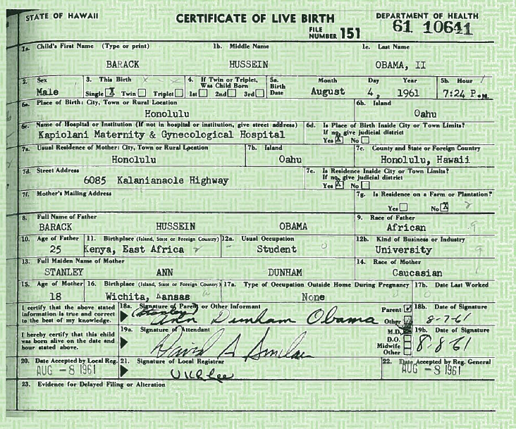 FactCheck.org : Official State of Hawaii long form birth certificate ...