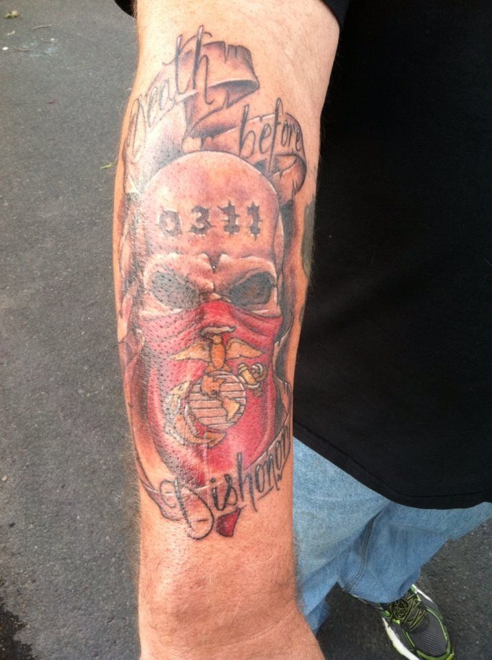 Skull tattoo with marine corps bandana and banner for Marine tattoo sleeves