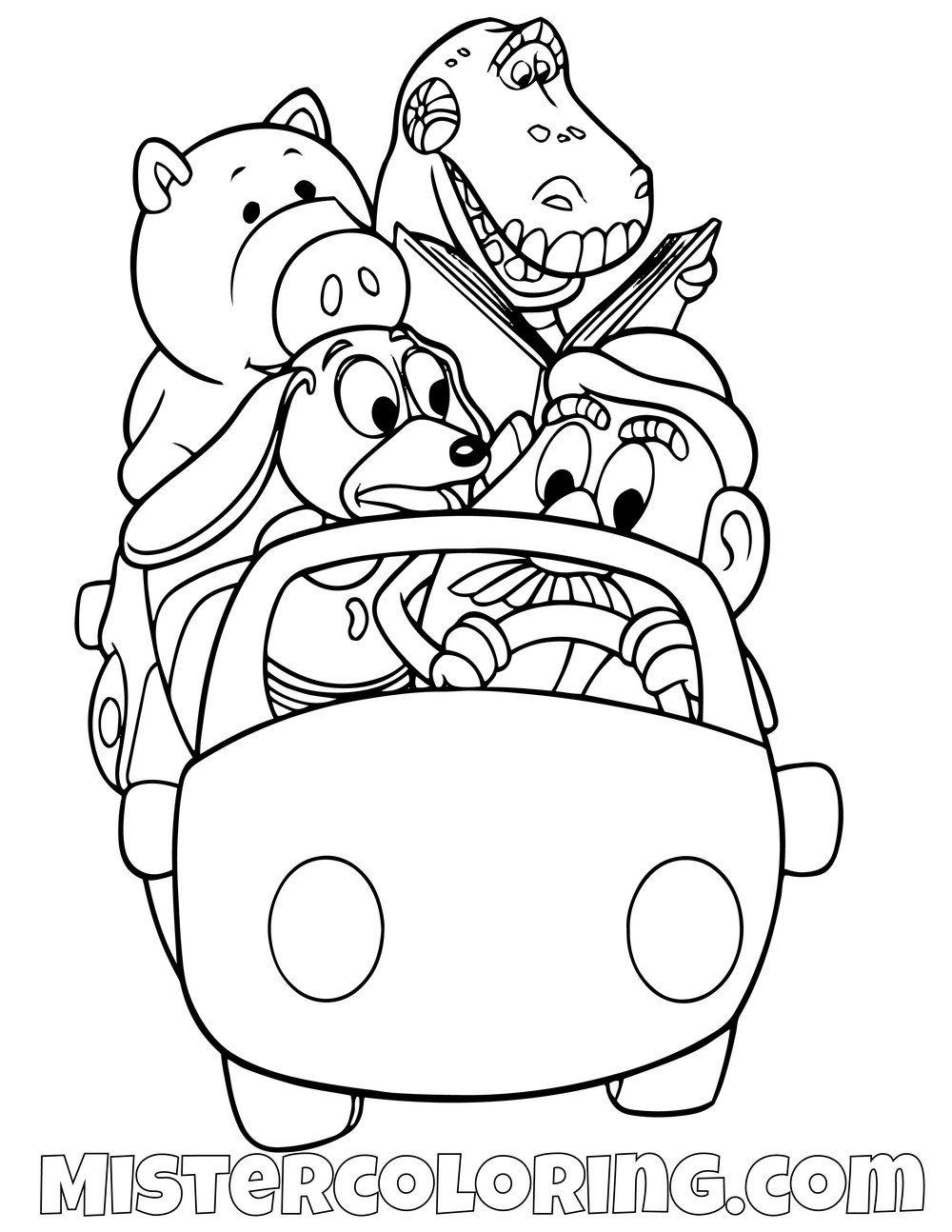 Ham Rex Slinky Dog And Mr Potato Head Driving A Car Toy Story