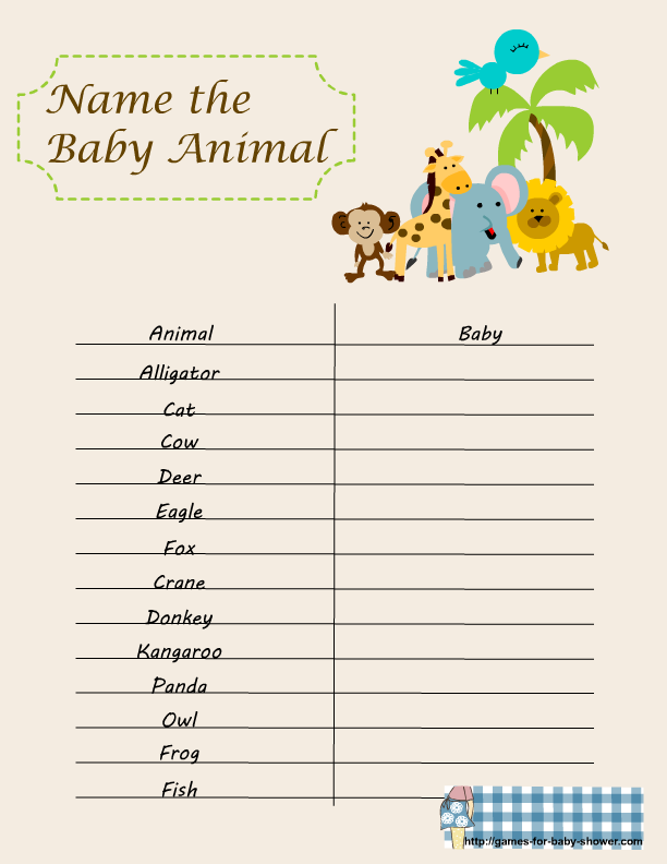 Baby Shower Games Free Printable Name The Baby Animal Game For