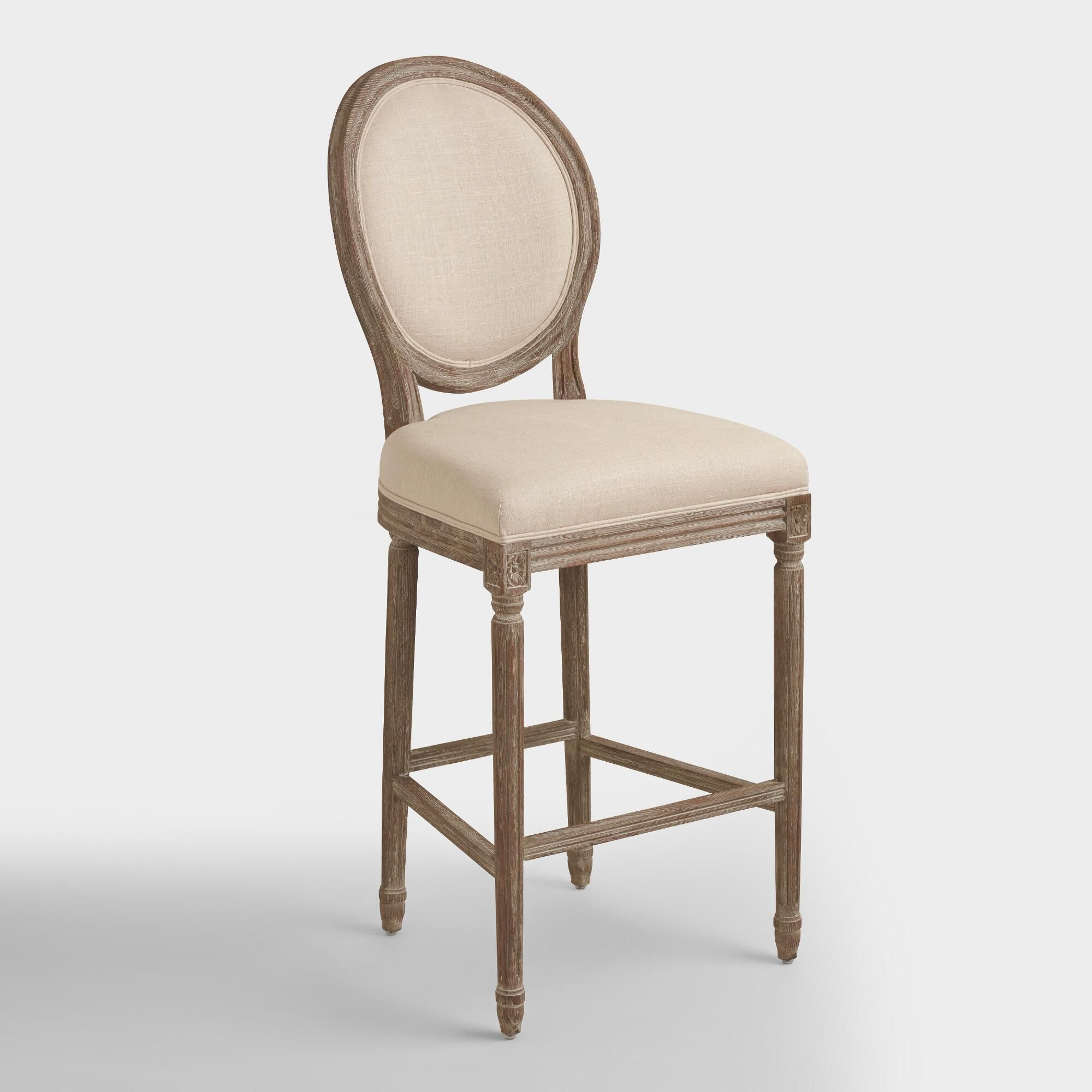 A classic with a round back silhouette our natural linen paige barstool is crafted of