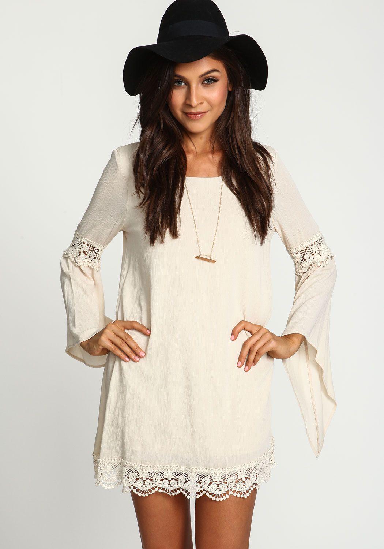 Lose Kleid Langarm mit Spitzedetail, weiß-Sheinside  Modische
