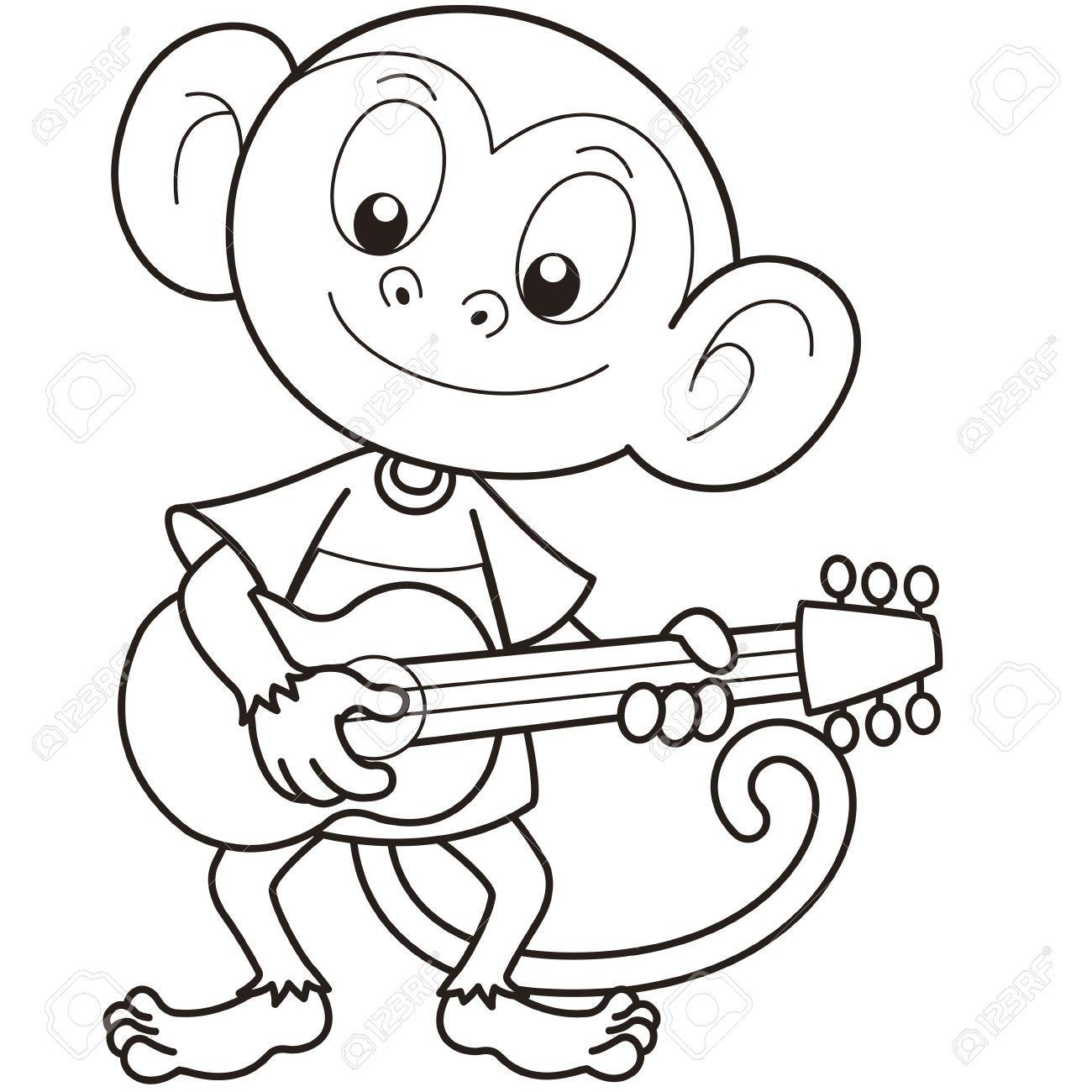 Stock Vector Cartoon monkey, Music drawings, Monkey tattoos