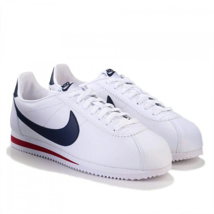 Classic Nike Cortez White Leather Navy Blue Gym Red