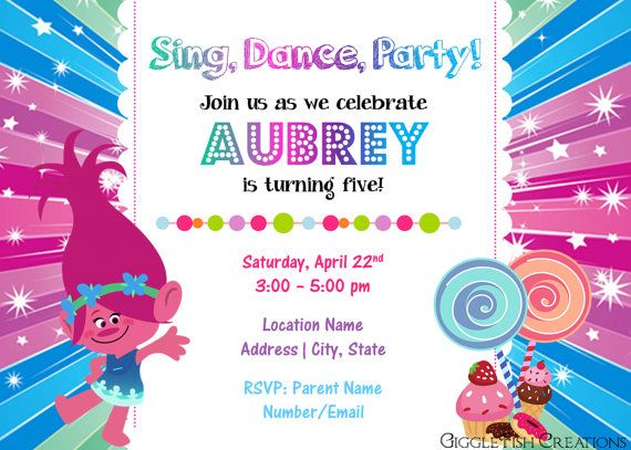 Candy shop birthday party invitation featuring poppy troll candy shop birthday party invitation featuring poppy troll digital file stopboris Image collections
