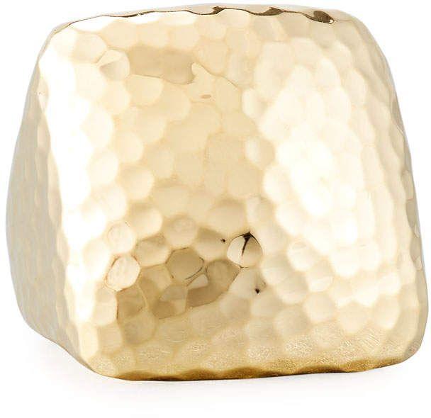 Roberto Coin Martellato Square 18k Gold Ring, Size 6.5
