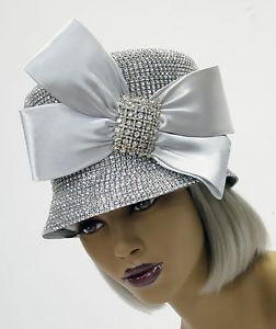 Look! new whittall   shon silver hat rhinestone encrusted church ... 934c350a086