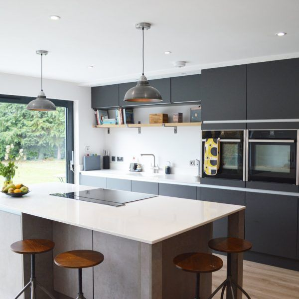 Modern Kitchen Installation In London Dark Grey Matt And Concrete - Dark grey matt kitchen