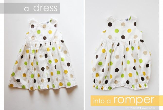 quick and easy dress into romper....use snap tape to save some steps!