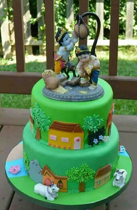 Krishna Ashtmi Special Cake The Easy Way With A Statue Top