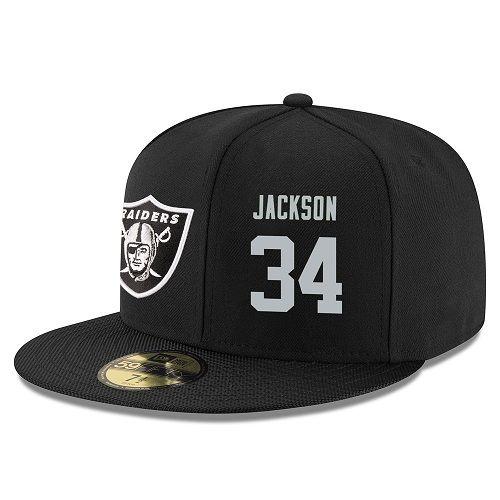 Nfl Player Jackson Stitched - silver Raiders Adjustable 34 Raider Nation Jerseys Hat Snapback Bo Raiders Black Oakland