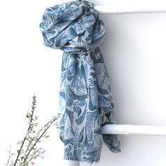 Iris blue & teal bird scarf