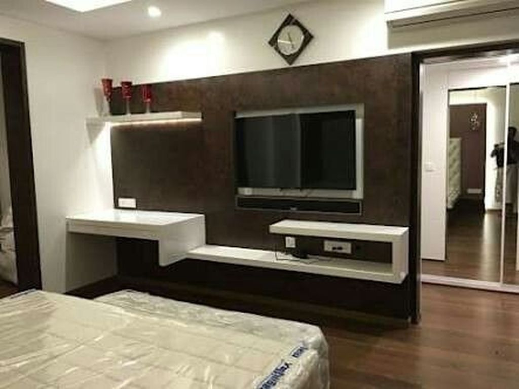 46 Cool Bedroom Tv Wall Design Ideas Tv In Bedroom Bedroom Tv Wall Tv Wall Design