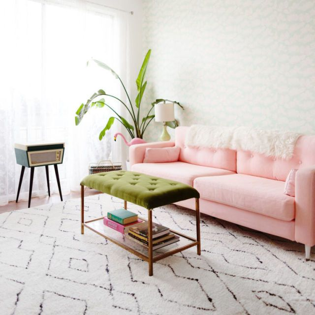 This Diy Millennial Pink Sofa Is Our Favorite Ikea Hack Of All Time Sofa Makeover Couch Makeover Ikea Sofa