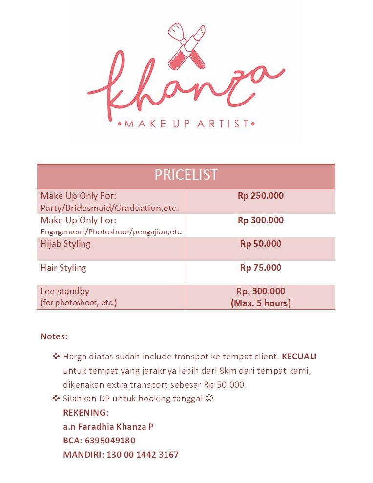 Pricelist Khanza Makeup Make Up