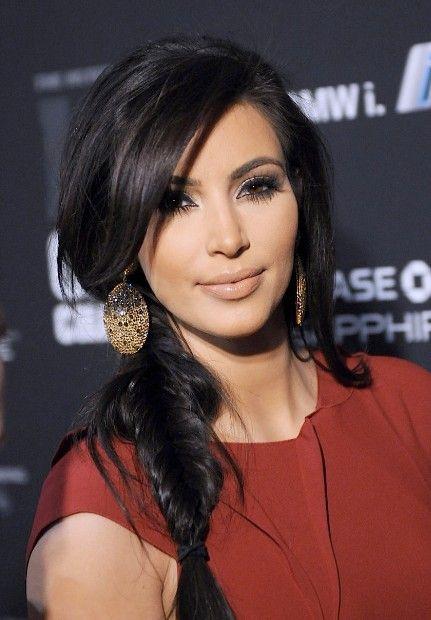 kim kardashian side fishtail braid with bangs | fishtail braid