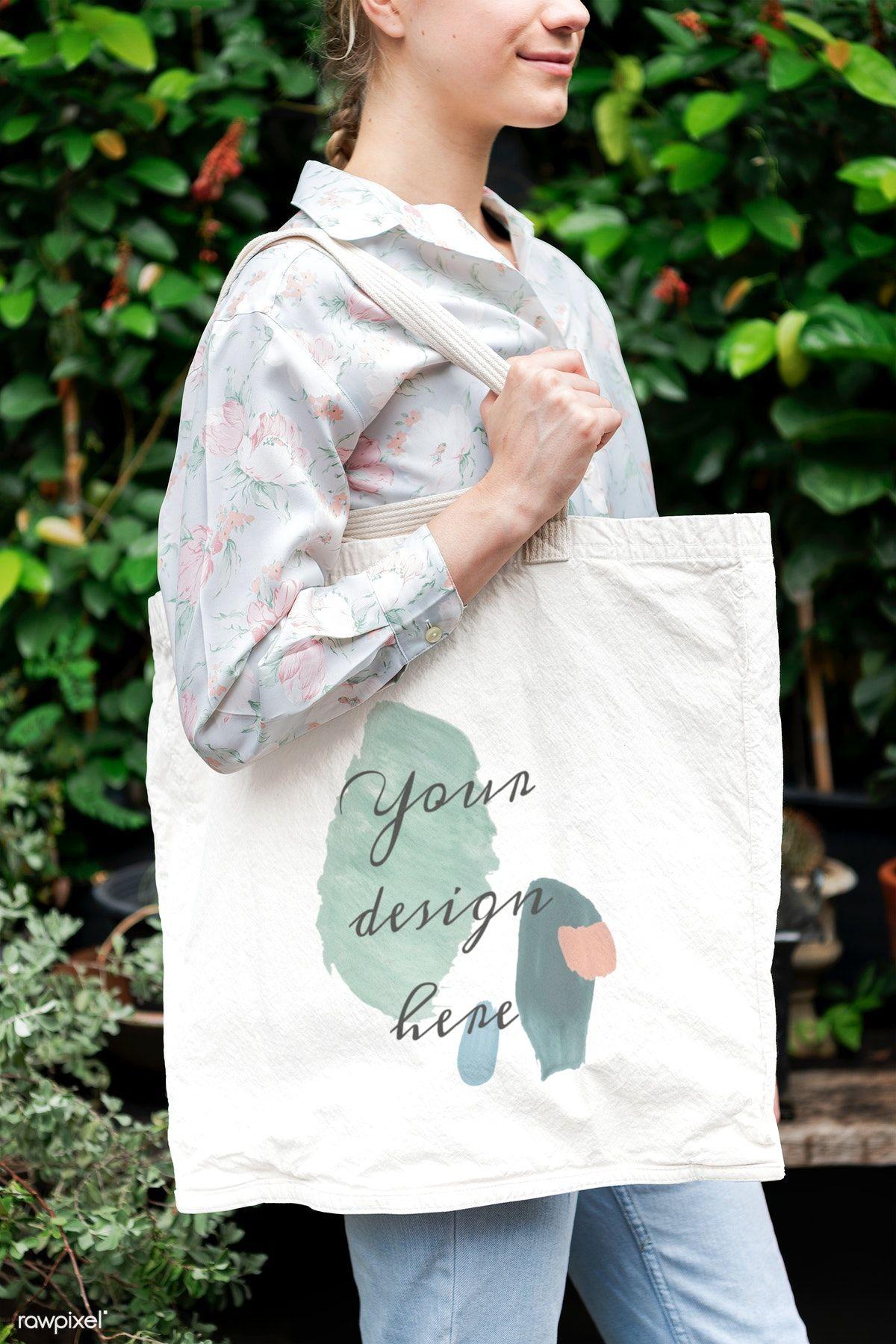 Download Download Premium Psd Of Woman With A Tote Bag Mockup 1212430 Bag Mockup Printed Canvas Bag Tote Bag