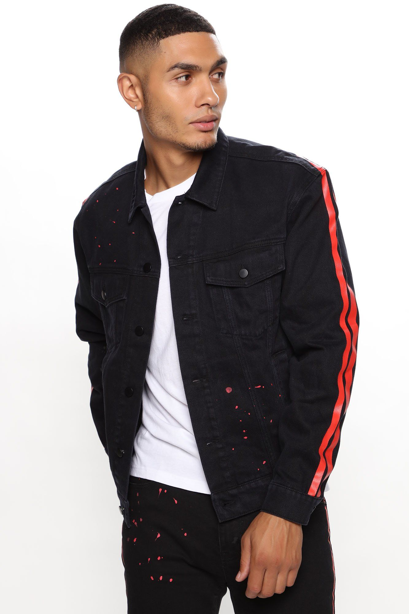 Vance Denim Jacket Black Red In 2021 Black Denim Jacket Black Denim Jacket Men Denim Jacket [ 2000 x 1333 Pixel ]