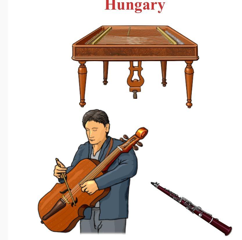 HUNGRÍA Up/Down, left to right 1.-Cimbalom, chordophone / zither family (Hungary) 2.-Utogardon, chordophone (Hungary,Romania)  3.-Tarogato, aerophone / single reed (Hungary)