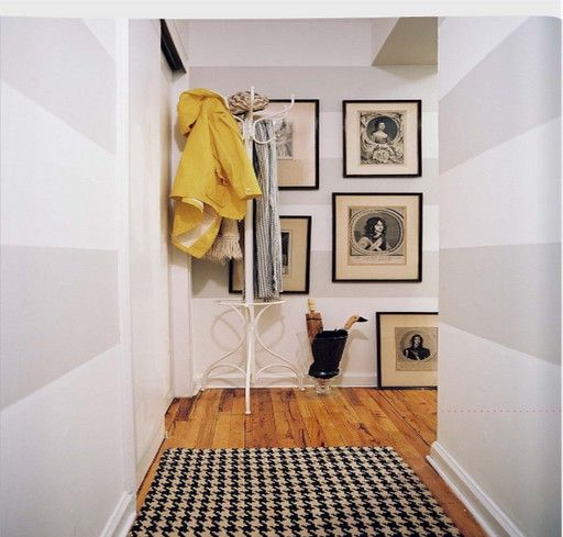 Although I'll probably be a bit more subtle with the stripes than in the photo, this is the plan for the upstairs hallway.