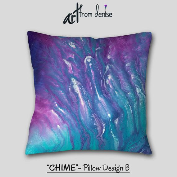 Modern Aqua Blue Pink Purple Throw Pillows Or Abstract Covers