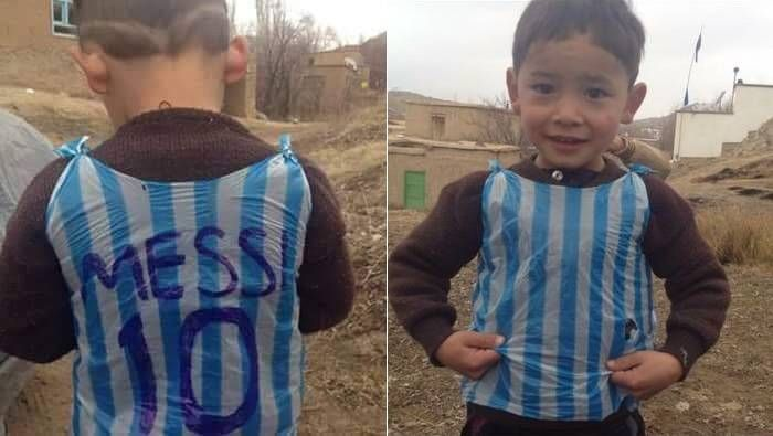 "pretty nice 2bb47 bd836 Murtaza, the Afghan ""plastic bag jersey boy"" finally gets ..."