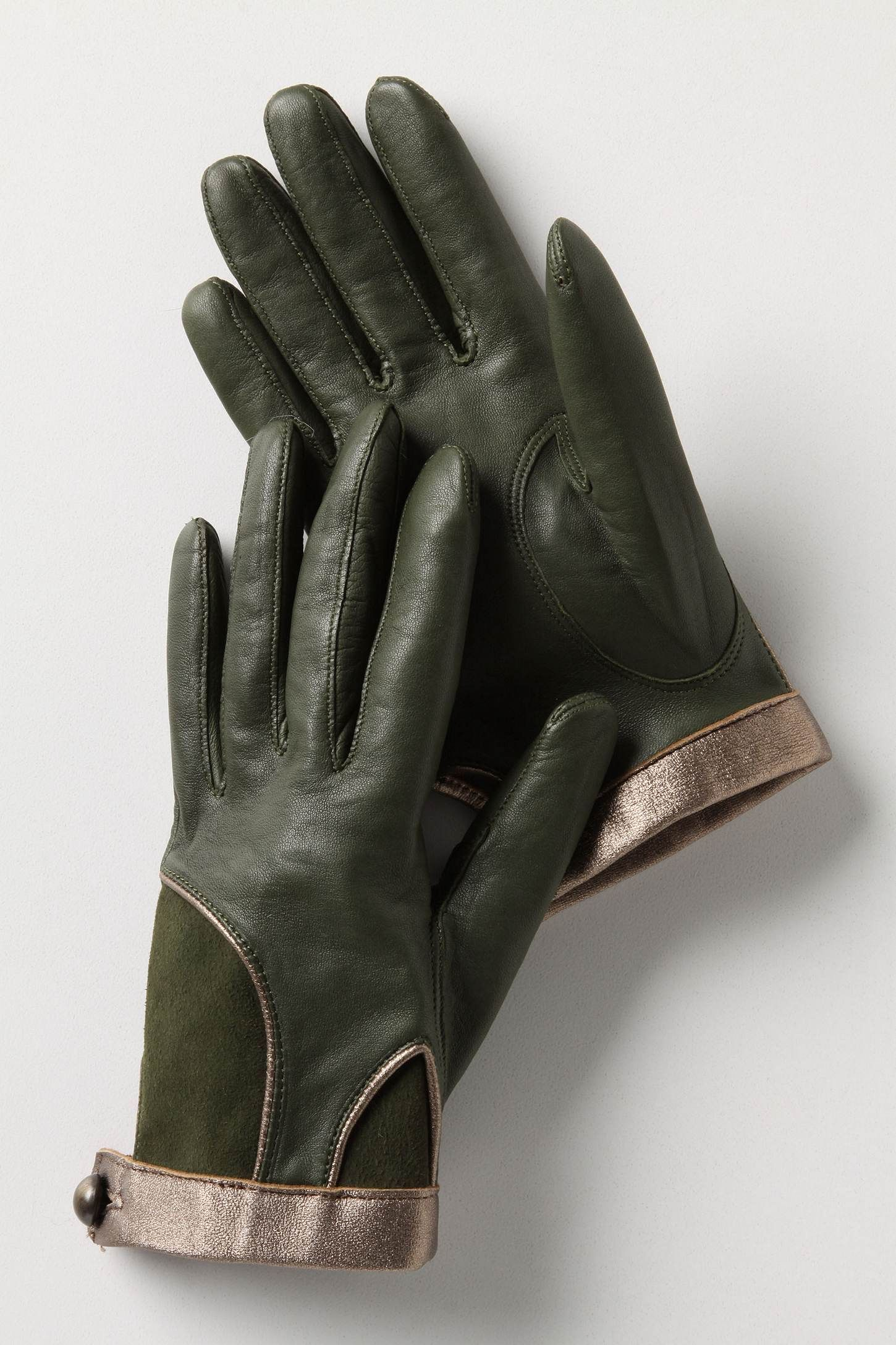 Ladies leather gloves with silk lining -  Test Of Time Leather Driving Gloves Gold Trim And Silk Lining