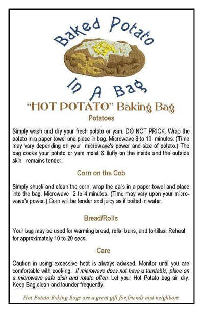 Potato Bag Instruction Card Contact Grandma Shipping And Return