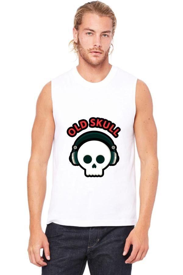 old skull funny Muscle Tank