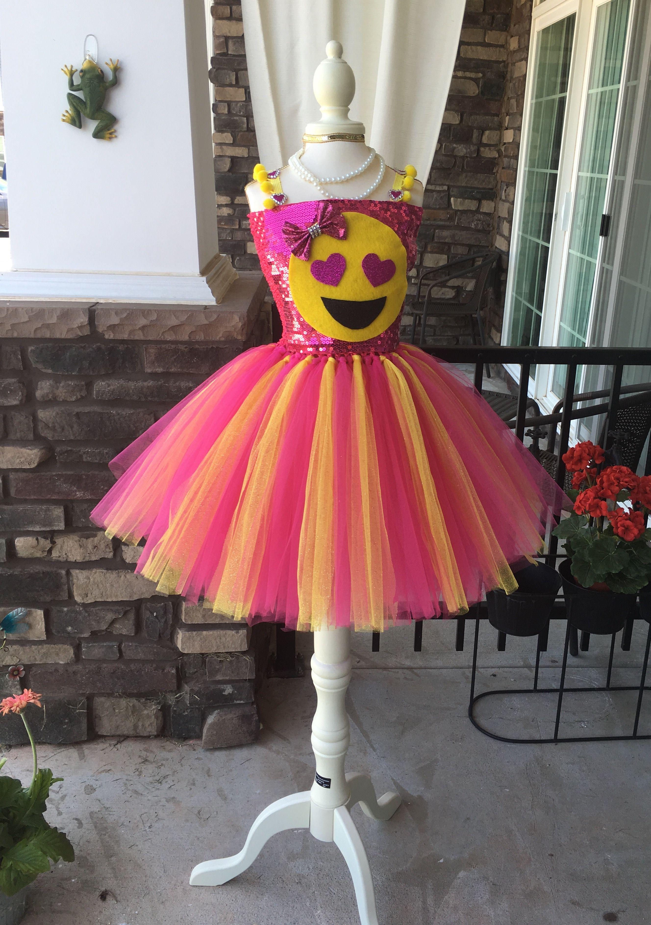 0298f8df04ef Emoji dress Heart eyes ..full of emotion! Beautiful emoji tutu dress ...