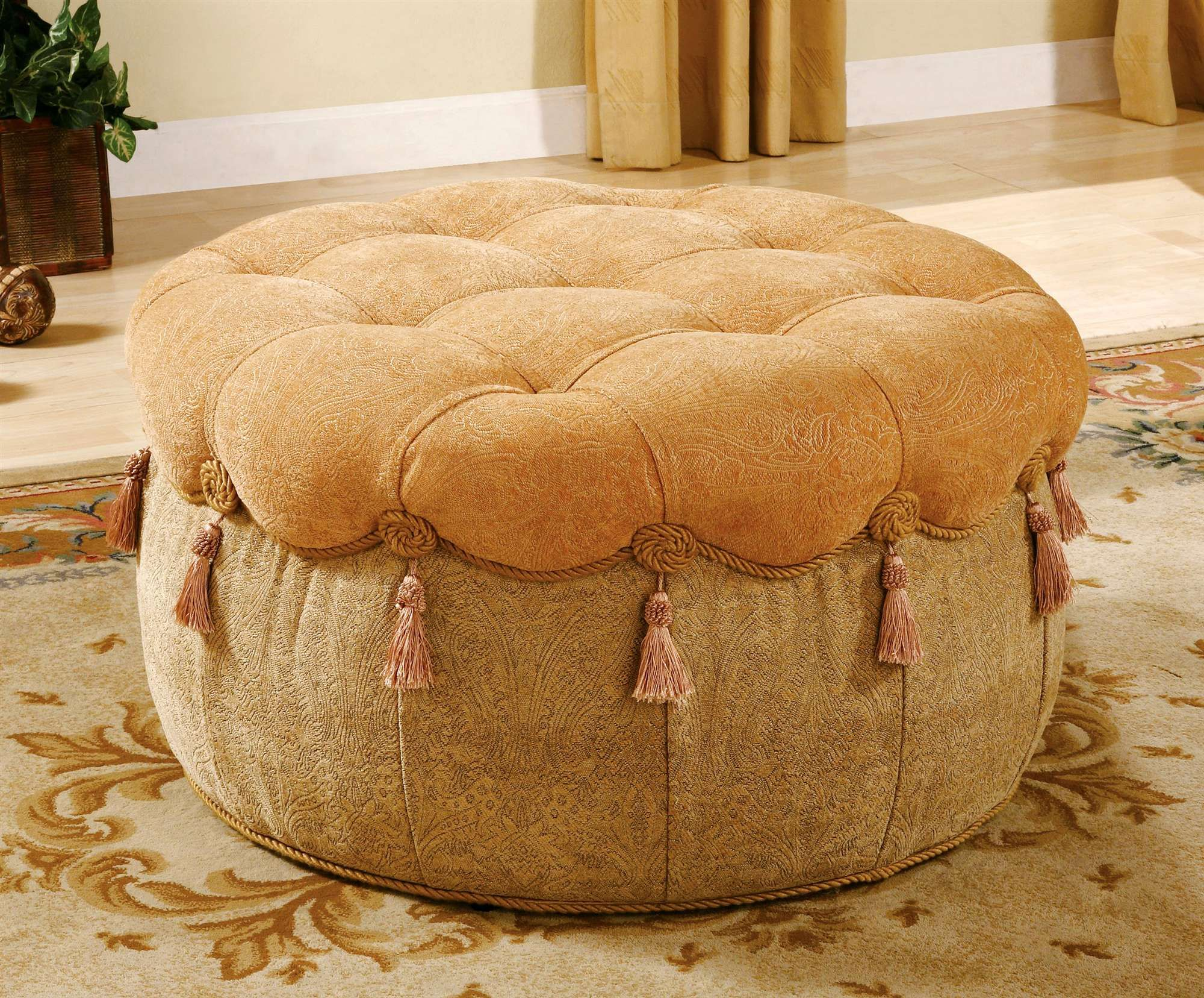 Marvelous Elegant Ottomans Photo Of Elegant Round Ottoman In Beige Ibusinesslaw Wood Chair Design Ideas Ibusinesslaworg