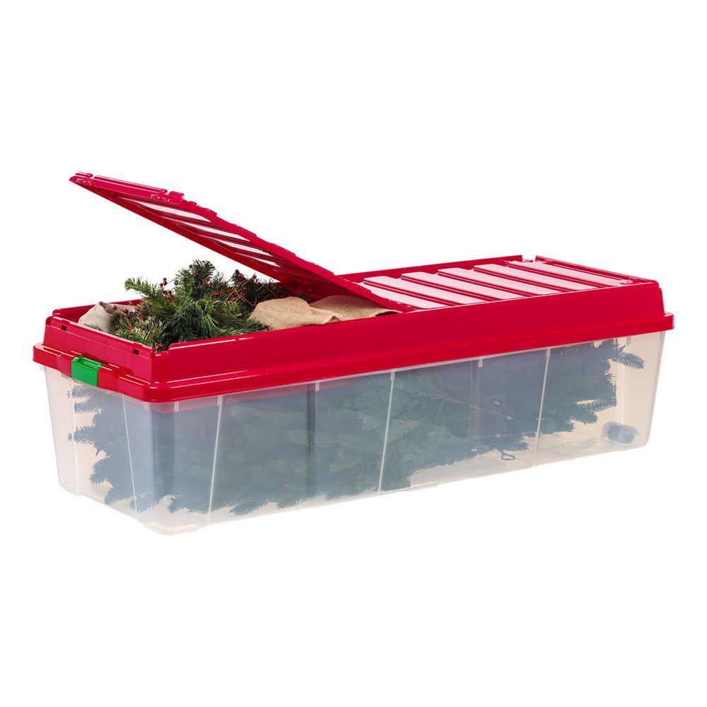 Christmas Tree Storage Bin Christmas Tree Storage Holiday Box Tote Compartment Lid Red Seasonal
