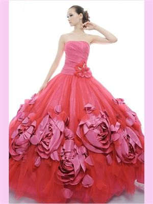 Red Flowers Tulle Quinceanera Dress Quinceanera Dresses