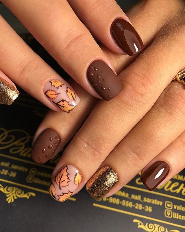 Fall leaves mani #oliveyourmani | Olive These Nails | Pinterest ...