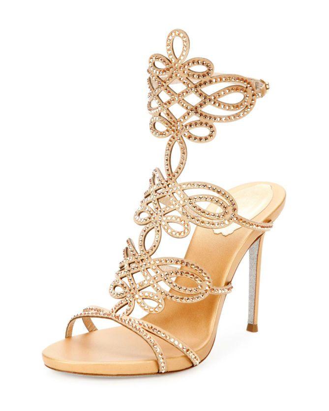 Rene Caovilla Femme Sandales En Satin Métalliques De Découpe Embelli Cristal Taille Or 37 Rene Caovilla g0gXI5M7z1