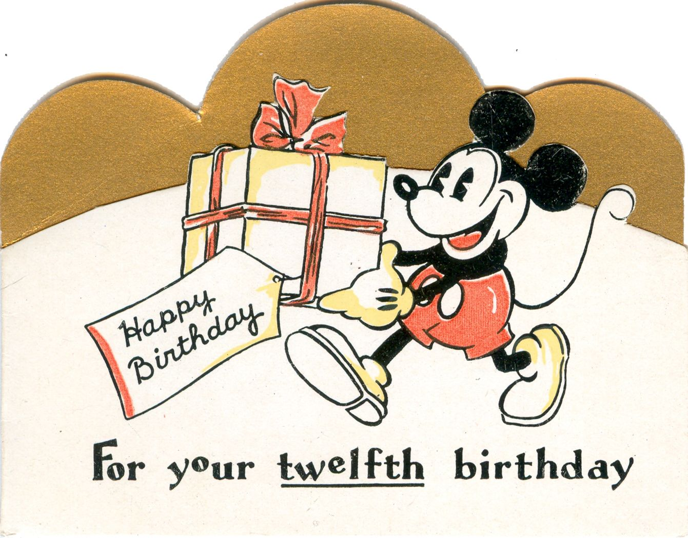 10 B 351 Mickey Mouse 12th Birthday Card Vintage Birthday Cards Mickey Mouse Birthday Party Vintage Greeting Cards