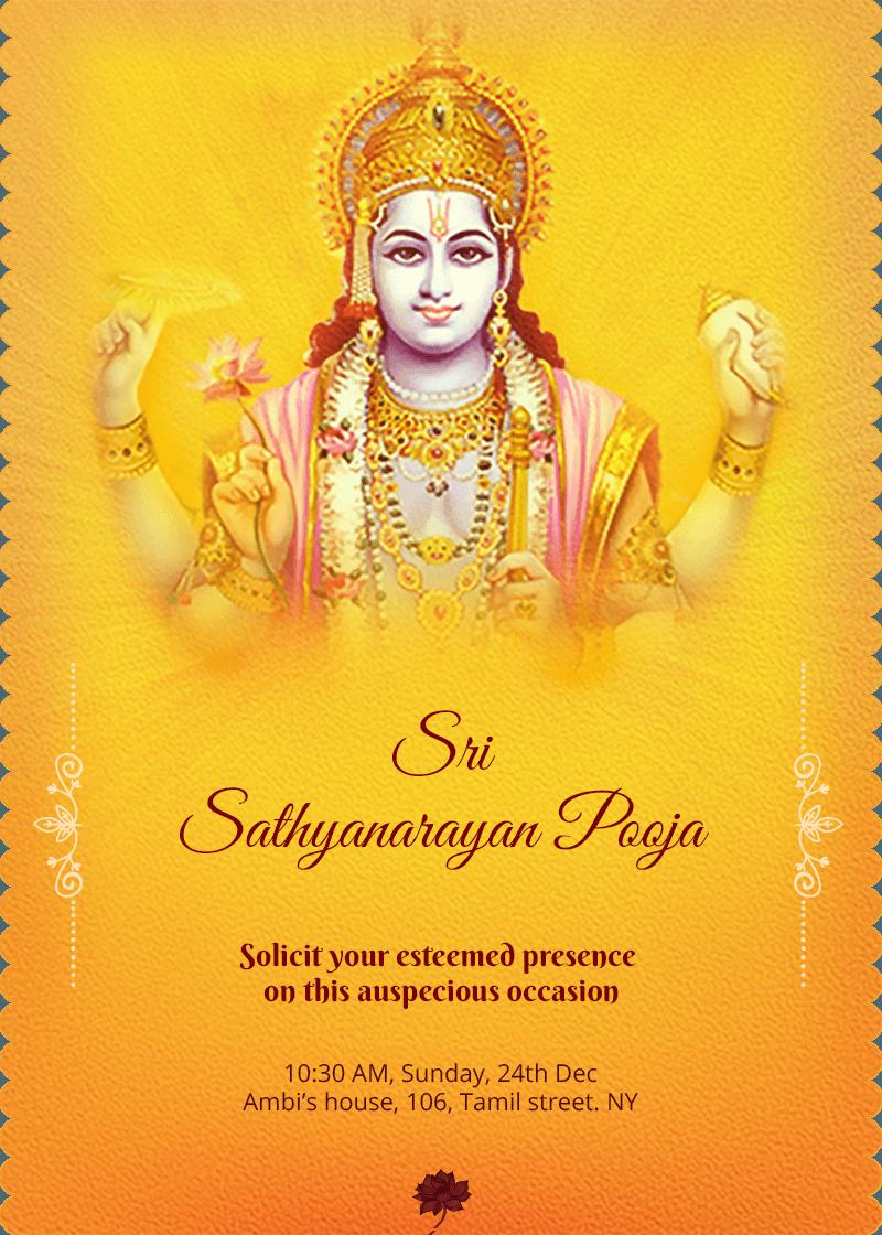 Satyanarayana Roopa Sankalpa Online Invitation Card Invitation Card Maker Invitation Card Design