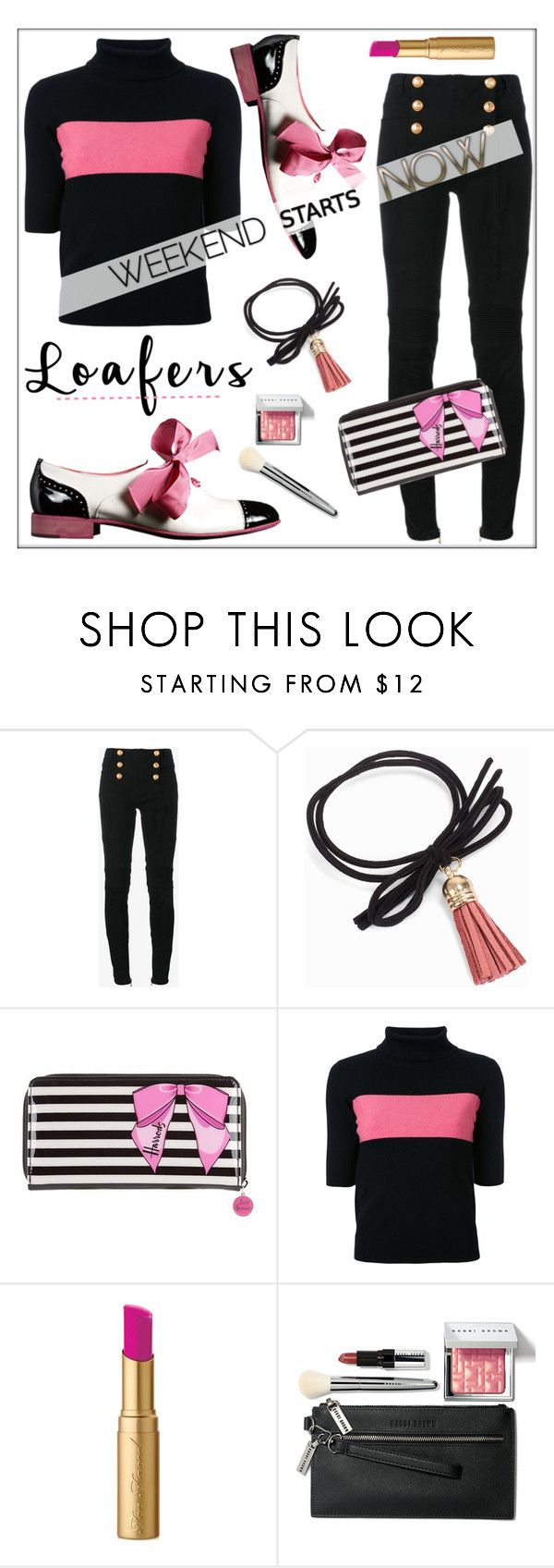 """""""Fall Trend: Loafers"""" by pat912 ❤ liked on Polyvore featuring Balmain, NLY Accessories, Moschino, Harrods, Guild Prime, Too Faced Cosmetics, Bobbi Brown Cosmetics, loafers and polyvoreeditorial"""