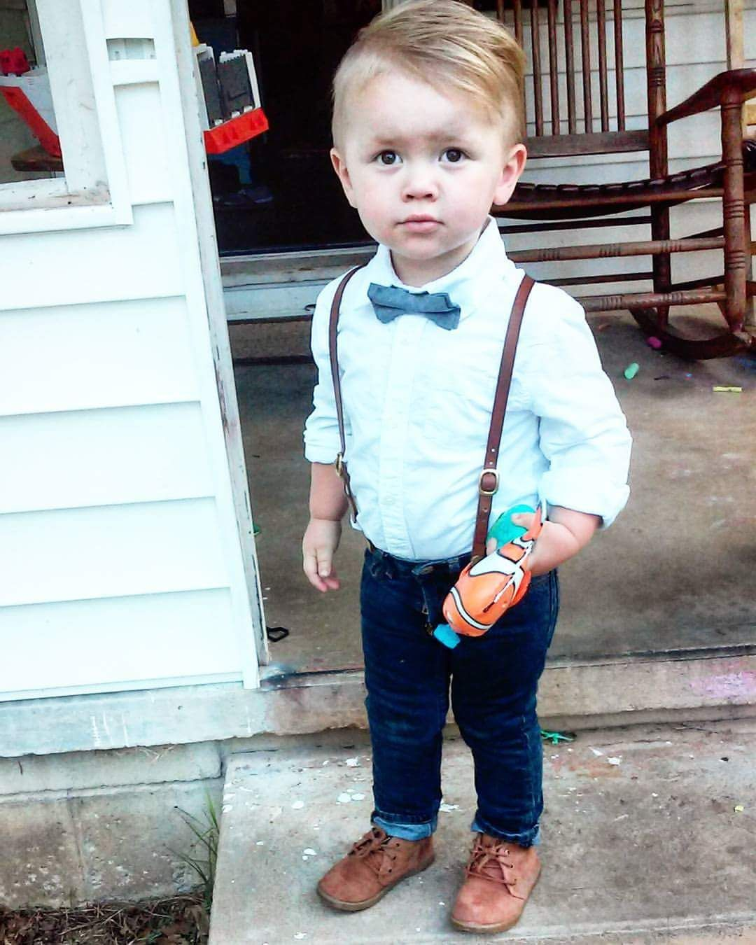 Toddler boy style, suspenders, skinny jeans, bow tie
