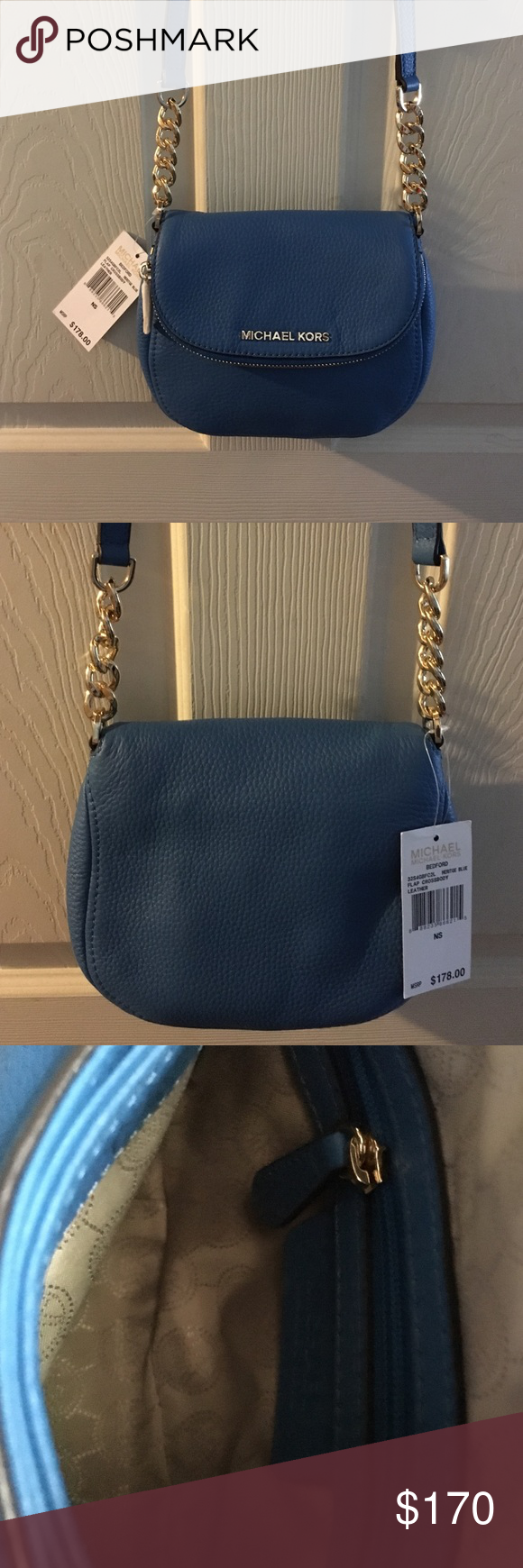 MICHAEL MICHAEL KORS  CROSS BODY🌸 MICHAEL MICHAEL KORS BEDFORD CROSS  BODY BAG. Heritage Blue. 8 X 7 X 2.5 NWT MICHAEL Michael Kors Bags Crossbody Bags