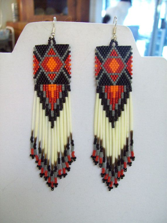 Native American Inspired Beaded Diamond Rug Quill Earrings Red ...