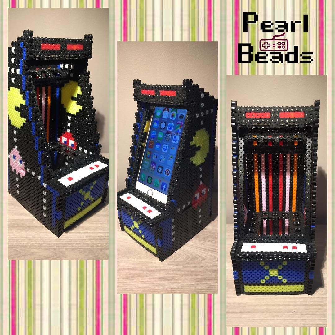 Arcade Machine Phone Holder Perler Beads By Pearl Beads Perler Beads Designs Perler Bead Art 3d Perler Bead
