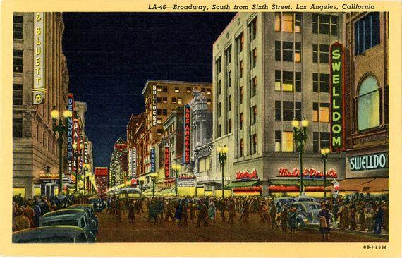 Los Angeles At Night Broadway Sixth Street California California Postcard Los Angeles At Night Photo Postcards