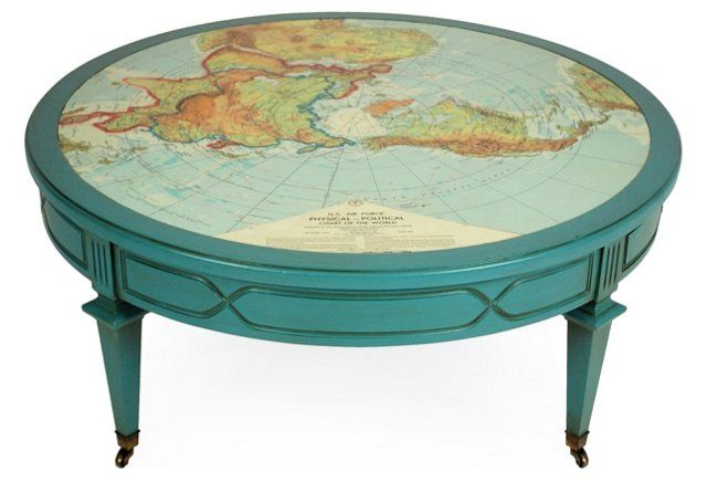 Blue Round Map Cocktail Table 36 W Table Cocktail Tables