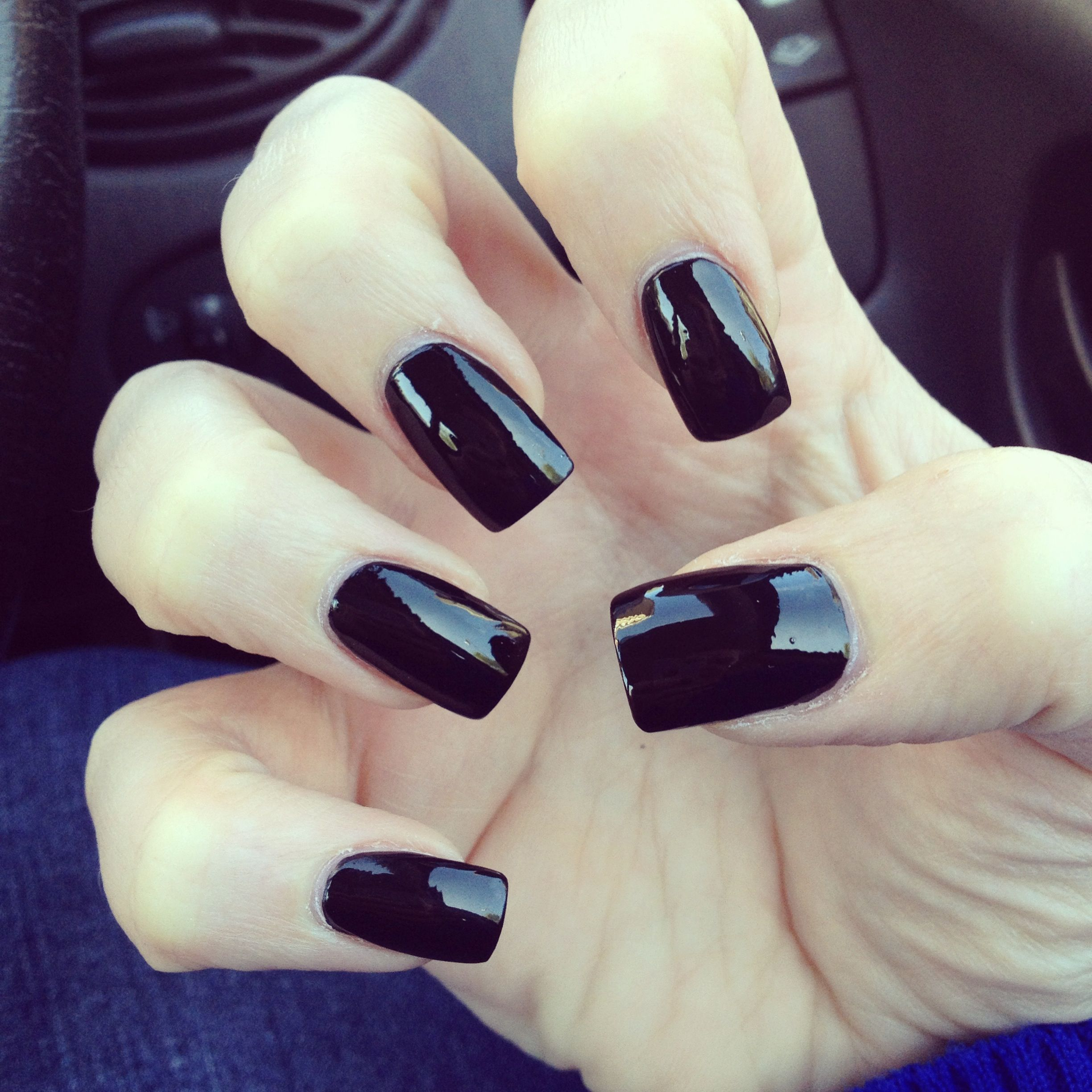 square, black acrylics... simple and chic | Nails ...