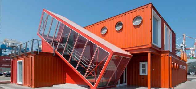 shipping container offices are right at home on an industrial seafront arch pinterest. Black Bedroom Furniture Sets. Home Design Ideas
